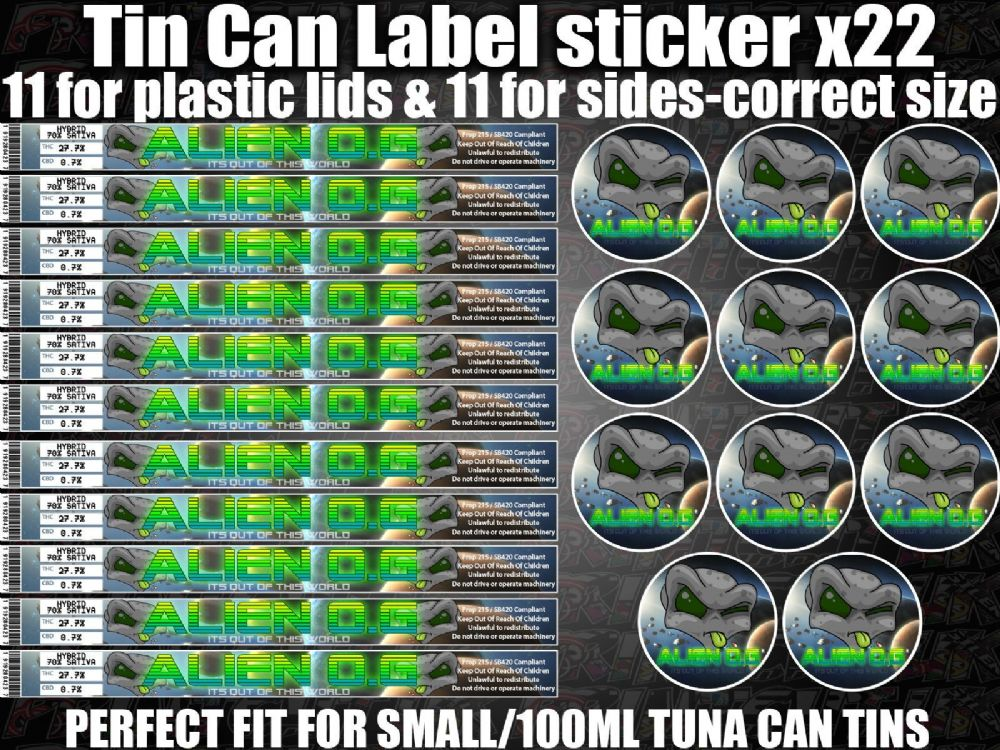 100 Euro Dinar Alien O G Cali Tin Labels Stickers Marijuana Weed Rx